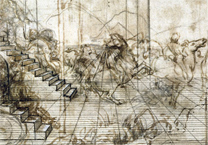 Leonardo da Vinci: Detail showing the lines of recession in 'Study for the Setting of the
