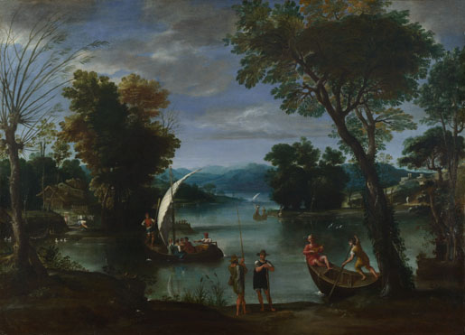 Giovanni Battista Viola: 'Landscape with a River and Boats'