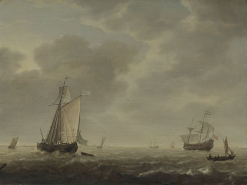 Simon de Vlieger: 'A Dutch Man-of-war and Various Vessels in a Breeze'