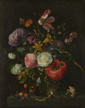 Jacob van Walscappelle: 'Flowers in a Glass Vase'