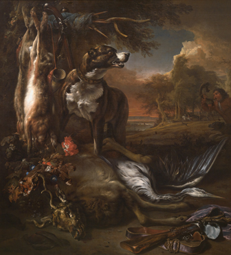 Jan Weenix: 'A Deerhound with Dead Game and Implements of the Chase'