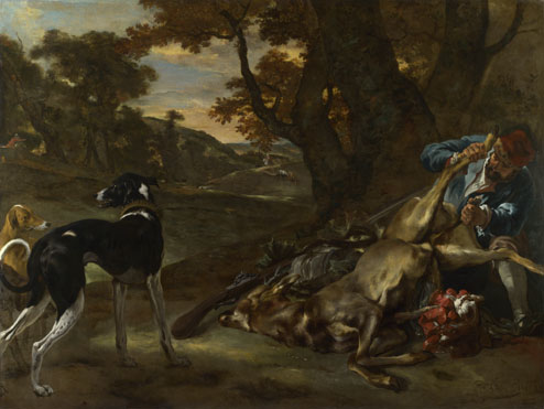 Jan Baptist Weenix: 'A Huntsman cutting up a Dead Deer, with Two Deerhounds'