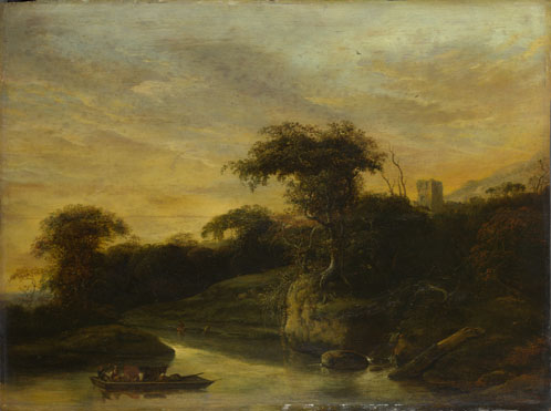 Jacob de Wet the Elder: 'A Landscape with a River at the Foot of a Hill'