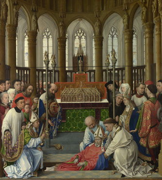 Rogier van der Weyden and workshop: 'The Exhumation of Saint Hubert'