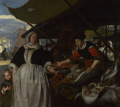 Emanuel de Witte: 'Adriana van Heusden and Daughter at the Fishmarket'