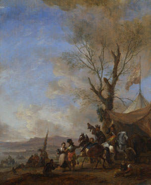 Philips Wouwermans: 'Cavalrymen halted at a Sutler's Booth'