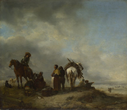 Philips Wouwermans: 'Seashore with Fishwives offering Fish'