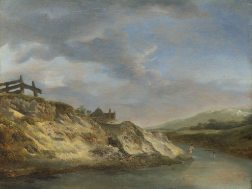 Philips Wouwermans: 'A Stream in the Dunes, with Two Bathers'