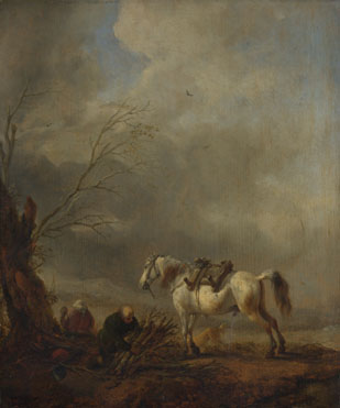Philips Wouwermans: 'A White Horse, and an Old Man binding Faggots'