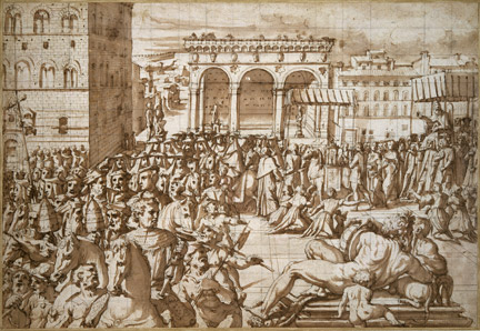 Giorgio Vasari: 'The Procession of Pope Leo X, through the Piazza della Signoria, Florence, in 1515'.