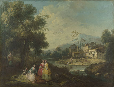 Giuseppe Zais: 'Landscape with a Group of Figures'