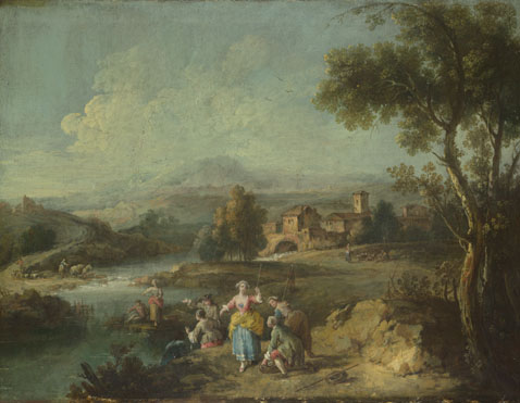 Giuseppe Zais: 'Landscape with a Group of Figures Fishing'