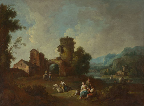 Giuseppe Zais: 'Landscape with a Ruined Tower'