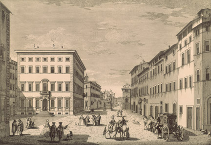 Giuseppe Zocchi: 'View of the Street Leading to Santa Maria Novella'.